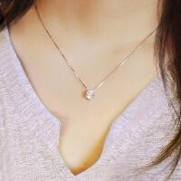 925纯银锆石项链 简约仿真钻石1克拉女士锁骨链学生吊坠女款