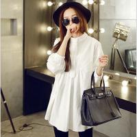 时尚孕妇春装上衣韩版宽松中长款打底衬衣纯棉长袖大码衬衫连衣裙