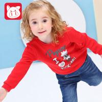 小猪班纳童装宝宝加绒卫衣2018秋装新款女童长袖T恤儿童套头上衣