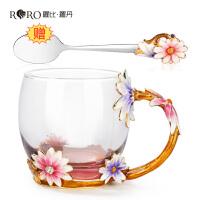 玻璃水杯创意花朵咖啡杯办公茶杯珐琅彩水杯朋友生日礼物
