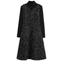 2018秋冬新款韩版两件套装裙子中长款背带裙打底裙格子毛呢连衣裙 黑色