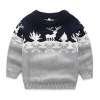男童毛衣全棉双层厚款 新款儿童毛衣 宝宝圆领毛衣纯棉线衣