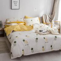 【官方旗舰店】北欧四件套磨毛床上用品1.8m米床单学生三件套网红菠萝被套床笠冬