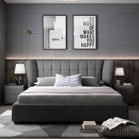 布�床 ��s�F代小�粜捅�W可拆洗�ξ镫p人1.8米�床�W�t布床主�P ��木框架床+豪�A乳�z床�| 送柜