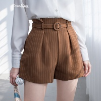 花苞裤女高腰短裤条纹裤子2018新款外穿宽松韩版a字阔腿裤
