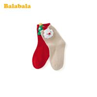 【2件5折价:24.95】巴拉巴拉儿童棉袜秋冬季女童长筒袜保暖小女孩圣诞袜子洋气两双装