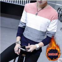 韩版时尚男士加厚毛衣保暖线衫青年V领套头线衣学生拼色针织衫男装
