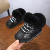 女童雪地靴2018新款冬季皮毛雪地一体儿童靴男童保暖短靴宝宝棉鞋
