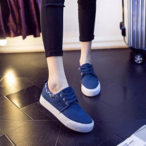 2017春秋季新款厚底休闲帆布鞋情侣鞋学生布鞋