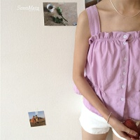 吊带背心女内搭甜美可爱夏季木耳边收腰性感外穿吊带背心女 紫色