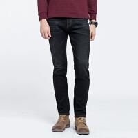 骆驼男装 秋季新款休闲黑色牛仔裤中腰微弹直筒男士青年长裤