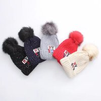 女冬针织毛线帽子韩版加绒花线铁环潮款个性大毛球字母保暖套头帽