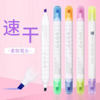 日本KOKUYO国誉荧光笔彩色双头荧光标记笔学生用学习神器背书记号笔粗划重点背书双线笔套装