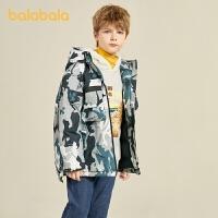 【2件4折�r:219.6】巴拉巴拉童�b�和�羽�q服男童2020新款秋冬中大童外套工�b�L迷彩潮