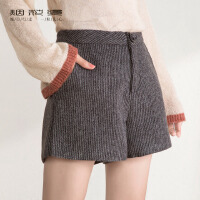 1件7折2件5折 烟花烫 2017冬装新款女装气质修身简约直筒竖条纹毛呢短裤 有约