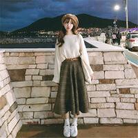 bf套装女秋韩版原宿学院风小清新秋冬款毛衣中长款半身裙子两件套