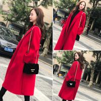 2018冬季新款韩版红色中长款呢子大衣气质女神范过膝毛呢外套女潮