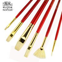 新品 温莎牛顿画家专用 猪鬃油画笔套装 扇形画笔 6支装5606