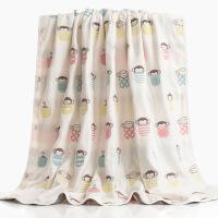六层纱布童被全棉新生儿婴儿童被四季盖毯浴巾空调被 杯子猴粉色 200*240