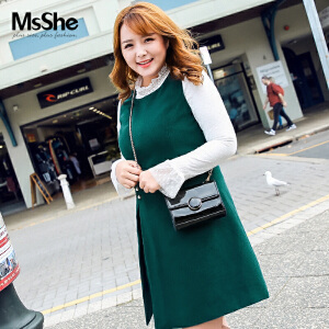 MsShe加大码女装2017新款冬装加绒弹力蕾丝衫打底M1740659