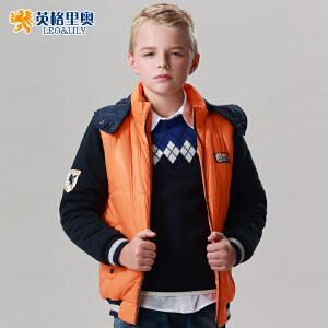 英格里奥秋冬新款男童运动休闲棉袄中大童加厚拉链衫儿童棉衣  1545