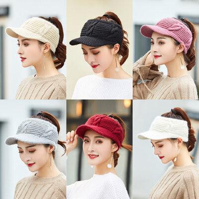 新款针织鸭舌帽女士空顶毛线帽子 韩版潮百搭甜美女帽子 可爱学生纯色针织帽子 品质保证 售后无忧