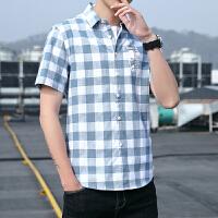 短袖衬衫男 夏季格子衬衫男士短袖韩版潮流衬衣青少年纯棉寸衫