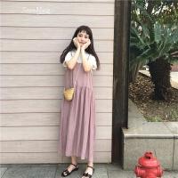 韩国学院风可爱娃娃裙显瘦连衣裙学生棉麻料吊带裙女长裙 均码