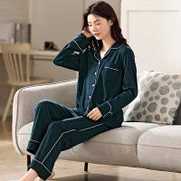 2021新款雅鹿女士纯棉睡衣纯色休闲家居服套装