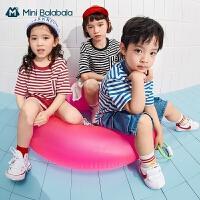 [TOYOYA联名]迷你巴拉巴拉2021纯棉亲子短袖T红白条纹海魂衫