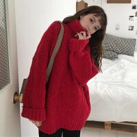 秋冬女装2017新款韩版宽松高领新年红色套头毛衣外套加厚保暖上衣