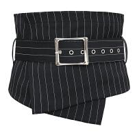 束腰装饰配饰复古韩版休闲新款时尚布料女士衬衫装饰宽腰封黑腰带 条纹 西服料
