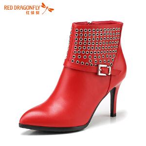 红蜻蜓女鞋短靴真皮新款冬季细高跟鞋女时装靴 欧美潮流短筒靴女