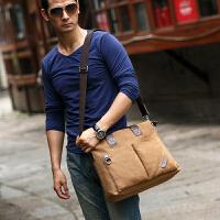 男包单肩斜挎包男帆布包横款男士包包背包手提公文包男商务大容量