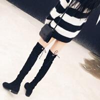 长靴女过膝靴秋冬季棉鞋2018新款学生黑色弹力高筒靴平底长筒靴女