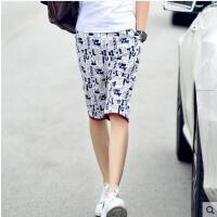 韩版修身中裤五分裤   青少年休闲沙滩裤 短裤   男士时尚印花 潮裤子