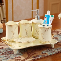 五件套洗漱套装摆设简约现代创意浴室卫生间结婚礼物陶瓷摆件