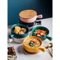陶瓷碗��意大�面碗烤碗沙拉碗家用��性��碗手柄泡面碗北�W餐具