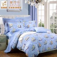 富安娜家纺 馨而乐四件套纯棉斜纹印花套件床品 扬帆启航 蓝色 1.5米(5英尺)床