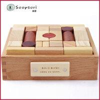 soopsori积木玩具韩国木制婴儿1-2岁3-6周岁礼品宝宝儿童早教益智
