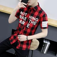 新款格子衬衫男短袖韩版印花衬衣青少年寸衫潮