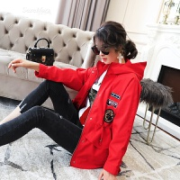 风衣女中长款韩版学生bf百搭春装2018新款女装时尚连帽贴布外套潮 红色 M