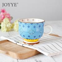 Joyye 釉下彩手绘英式红茶杯 北欧陶瓷咖啡牛奶麦片早餐杯大容量