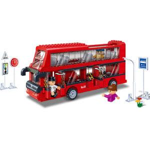 【当当自营】邦宝益智积木儿童小颗粒男孩玩具生日礼物亲子城市双层巴士8769