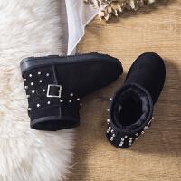 雪地靴女短筒靴内增高冬季铆钉靴保暖加绒棉鞋时尚百搭学生面包鞋