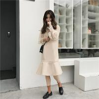 春季新款套装两件套女韩版气质打底衫ulzzang毛呢鱼尾背心连衣裙
