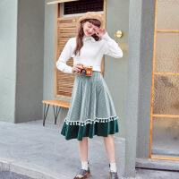 MG小象中长款高腰半身裙女时尚个性2019新款秋季宽松韩版a字裙子