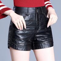 新款皮短裤女秋冬大码外穿高腰裤直筒加厚保暖打底裤黑色