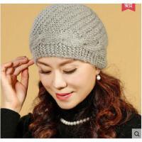 秋冬休闲保暖中老年女士毛线帽老年人冬季奶奶帽圆顶老人帽子女冬天妈妈帽毛线帽针织帽