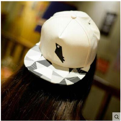 帽子 嘻哈帽 棒球帽 女士可爱企鹅图案塑胶嘻哈街舞棒球帽户外遮阳平沿帽子男 品质保证 售后无忧  支持货到付款